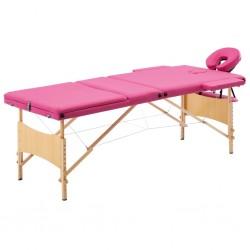 stradeXL Składany stół do masażu, 3 strefy, drewniany, różowy