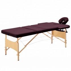 stradeXL Składany stół do masażu, 3 strefy, drewniany, fioletowy