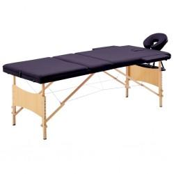stradeXL Składany stół do masażu, 3 strefy, drewniany, winny fiolet