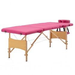 stradeXL Składany stół do masażu, 4 strefy, drewniany, różowy