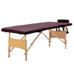 stradeXL Składany stół do masażu, 4 strefy, drewniany, fioletowy