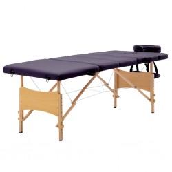 stradeXL Składany stół do masażu, 4 strefy, drewniany, winny fiolet