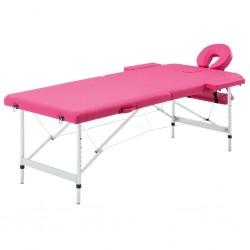 stradeXL Składany stół do masażu, 2 strefy, aluminiowy, różowy