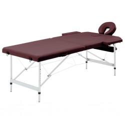 stradeXL Składany stół do masażu, 2 strefy, aluminiowy, fioletowy