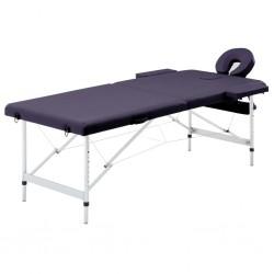 stradeXL Składany stół do masażu, 2 strefy, aluminiowy, winny fiolet