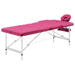 stradeXL Składany stół do masażu, 3 strefy, aluminiowy, różowy