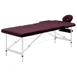 stradeXL Składany stół do masażu, 3 strefy, aluminiowy, fioletowy