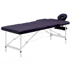 stradeXL Składany stół do masażu, 3 strefy, aluminiowy, winny fiolet