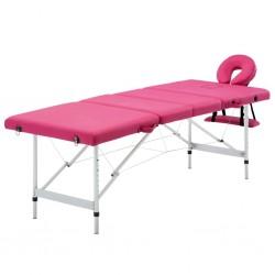 stradeXL Składany stół do masażu, 4 strefy, aluminiowy, różowy