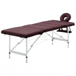 stradeXL Składany stół do masażu, 4 strefy, aluminiowy, fioletowy