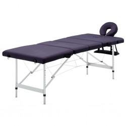 stradeXL Składany stół do masażu, 4 strefy, aluminiowy, winny fiolet