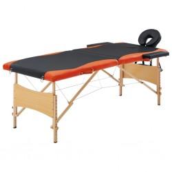 stradeXL Składany stół do masażu, 2 strefy, drewno, czarno-pomarańczowy