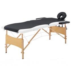 stradeXL Składany stół do masażu, 2 strefy, drewniany, czarno-biały