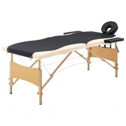 stradeXL Składany stół do masażu, 2 strefy, drewniany, czarno-beżowy