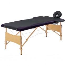 stradeXL Składany stół do masażu, 2 strefy, drewniany, czarny