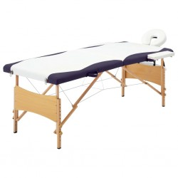 stradeXL Składany stół do masażu, 2 strefy, drewniany, biało-fioletowy
