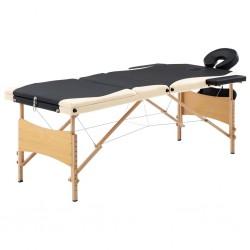stradeXL Składany stół do masażu, 3 strefy, drewniany, czarno-beżowy