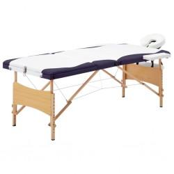 stradeXL Składany stół do masażu, 3 strefy, drewniany, biało-fioletowy