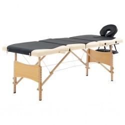 stradeXL Składany stół do masażu, 4 strefy, drewniany, czarno-beżowy