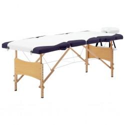 stradeXL Składany stół do masażu, 4 strefy, drewniany, biało-fioletowy