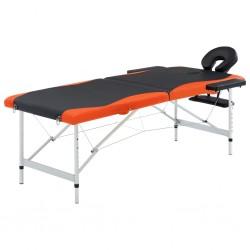 stradeXL 2-strefy, składany stół do masażu, aluminium czarny i pomarańcz