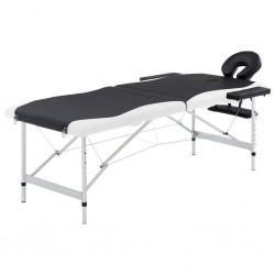 stradeXL 2-strefowy, składany stół do masażu, aluminium, czarno-biały