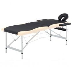 stradeXL 2-strefowy, składany stół do masażu, aluminium, czarno-beżowy