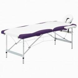 stradeXL 2-strefowy, składany stół do masażu, aluminium, biało-fioletowy