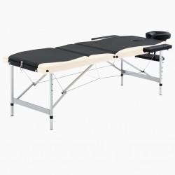 stradeXL 3-strefowy, składany stół do masażu, aluminium, czarno-beżowy