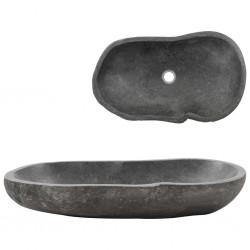 stradeXL Umywalka z kamienia rzecznego, owalna, 60-70 cm