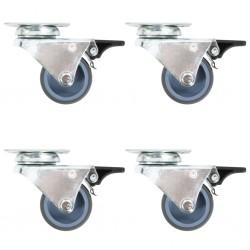 stradeXL Podwójne kółka skrętne z podwójnymi hamulcami, 4 szt., 50 mm