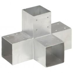 stradeXL Łącznik do słupków w kształcie X, galwanizowany metal, 91x91 mm