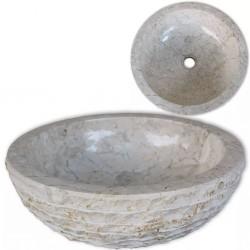 stradeXL Umywalka marmurowa, 40 cm, kremowa