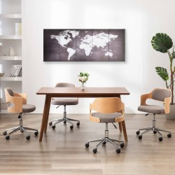 stradeXL Zestaw obrazów przedstawiający mapę świata, szary, 200x80 cm