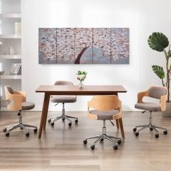 stradeXL Zestaw obrazów z kwitnącym drzewem, kolorowy, 200x80 cm