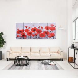 stradeXL Zestaw obrazów przedstawiający kwiaty, kolorowy, 200x80 cm