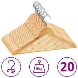 stradeXL 20 szt. wieszaków na ubrania, antypoślizgowe, twarde drewno