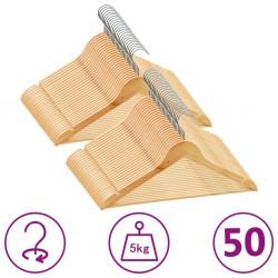 stradeXL 50 szt. wieszaków na ubrania, antypoślizgowe, twarde drewno