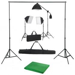 stradeXL Fotograficzny zestaw studyjny z lampami softbox i tłem