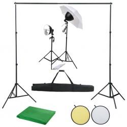 stradeXL Fotograficzny zestaw studyjny z lampami, tłem i blendą