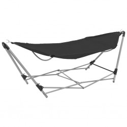 stradeXL Hammock with Foldable Stand Black