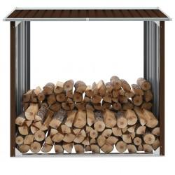 stradeXL Wiata na drewno, stal galwanizowana, 172x91x154 cm, brązowa