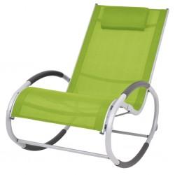 stradeXL Ogrodowy fotel bujany, zielony, textilene
