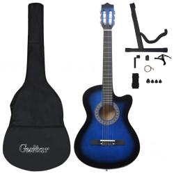 stradeXL 12 Piece Western Acoustic Guitar Set with 6 Strings Blue 38