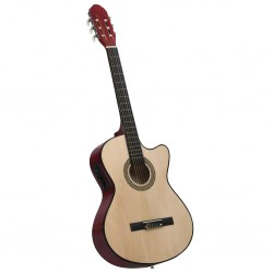 stradeXL Western Acoustic Cutaway Guitar with Equalizer and 6 Strings