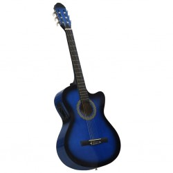 stradeXL Western Acoustic Cutaway Guitar with Equalizer 6 Strings Blue