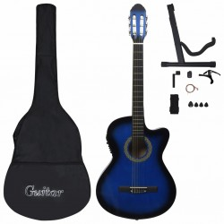 stradeXL 12 Piece Western Guitar Set with Equalizer and 6 Strings Blue