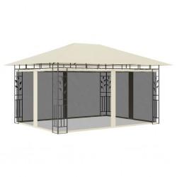 stradeXL Altana ogrodowa z moskitierą, 4x3x2,73 m, kremowa, 180 g/m²