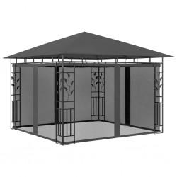 stradeXL Altana ogrodowa z moskitierą, 3x3x2,73 m, antracytowa, 180 g/m²