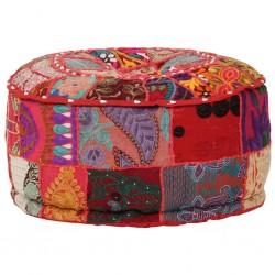 stradeXL Okrągły puf patchworkowy, ręcznie robiony, 40x20 cm, czerwony